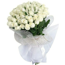 Bouquet of 55 White Roses