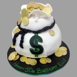 Bag of money cake
