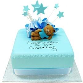 Blue teddy christening cake