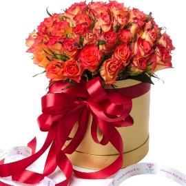 45 Hot Orange Roses