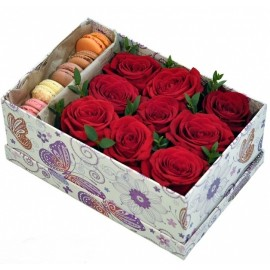 Bright Arrangement in Box with Macarons