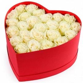 Heartshaped Box of White Roses