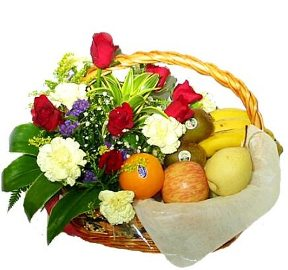 Basket with Flowers & Fruit