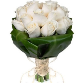 25 White Satin Roses Bouquet