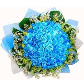 Букет из 77 Синих Роз