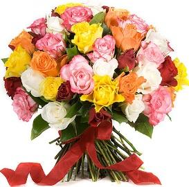 Букет из 55 Разноцветных Роз