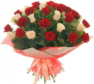 55 Red & White Roses Bouquet