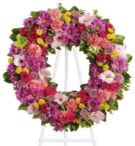 Round Wreath of Mixed Flowers