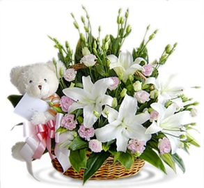 Dazzling Basket of Flowers with Gift