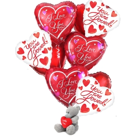 Heart Balloons with Teddy