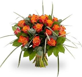 Նարնջագույն վարդերով ծաղկեփունջ