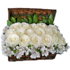White Regal Roses in Basket