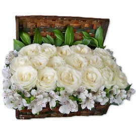 White Regal Roses in Basket