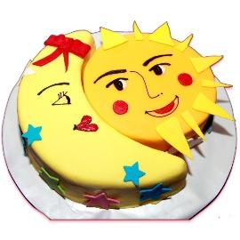 Տորթ ժպտացող արև ու լուսին