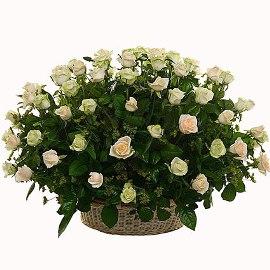 Траурная корзина из 70 роз