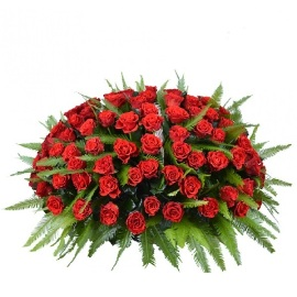 Սգո զամբյուղ 200 կարմիր վարդով