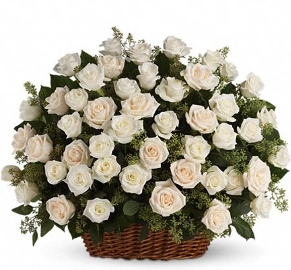 White Basket of 90 Roses