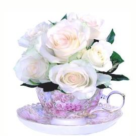9 Белых роз в чашке