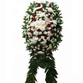 White Wreath with Red Roses