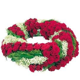 Ծաղկեպսակ 150 կարմիր վարդերով