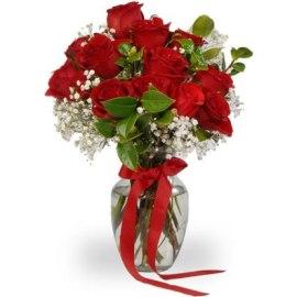 Fiery Roses Bouquet in Vase